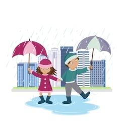 Children with umbrellas in the rain vector