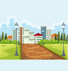 city view from the park background vector image