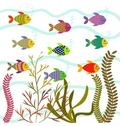Colorful sea fishes Underwater nature vector image