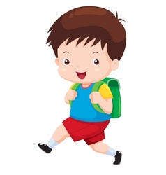 Cute boy go to school vector image