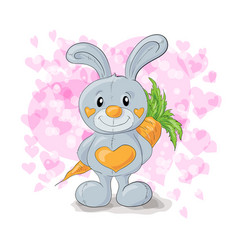 Cute bunny with hearts cartoon vector