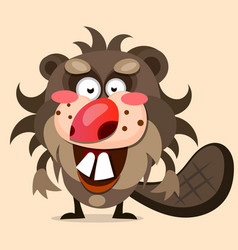 cute cartoon beaver in flat style background vector image