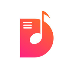 d letter music note notes logo icon vector image