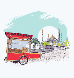 digital blue mosque and simit vendor cart vector image