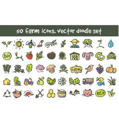 Doodle farm icons set vector
