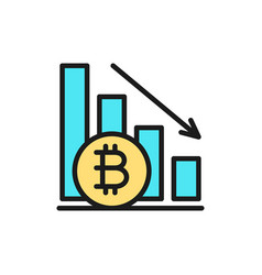 Down graph bitcoin coin cryptocurrency flat vector