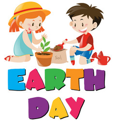 Earth day theme with kids planting tree vector
