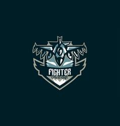 emblem a military aircraft aircraft logo vector image