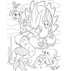 Ermaid looks in the mirror coloring book for vector