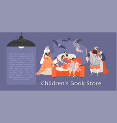 family reading a book and fantastic characters vector image