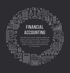 Financial accounting circle poster with flat line vector