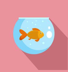 fish in round aquarium icon flat style vector image