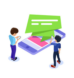 flat isometric mobile advertising concept people vector image