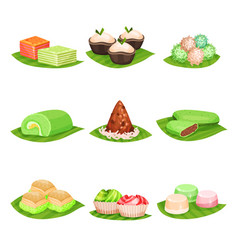 Flat set of traditional indonesian sweets vector