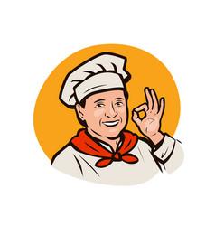 funny chef cooking restaurant menu logo or label vector image
