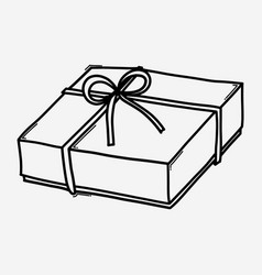 gift box doodle icon drawing sketch hand drawn vector image