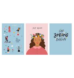 girl boy spring lettering card bundle vector image