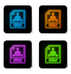 glowing neon obj file document icon download obj vector image