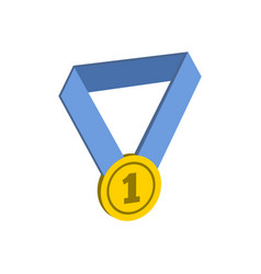 gold medal symbol flat isometric icon or logo 3d vector image
