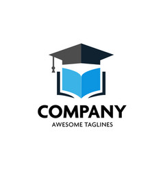 graduation cap and open book logo concept vector image