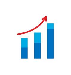growing graph icon arrow move up symbol vector image