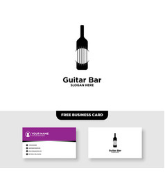 Guitar bar and wine logo and business card vector