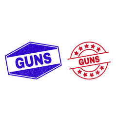 Guns unclean stamp seals in circle and hexagonal vector