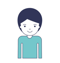 half body man with short hair in blue color vector image