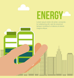 hand holding batteries city energy alternative vector image