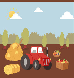 Harvesting autumn farm crops with tractor vector