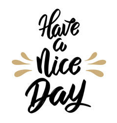 Have a nice day hand drawn lettering isolated on vector