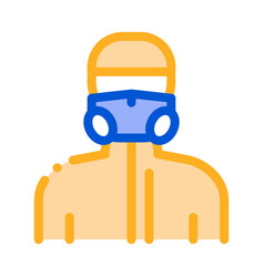 human in protective mask icon outline vector image