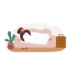 Illness woman lying on couch covering blanket vector