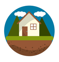isolated eco house design vector image