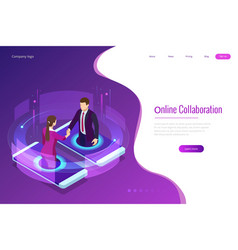 isometric business handshake global online vector image