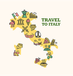 italy travel banner card with map vector image