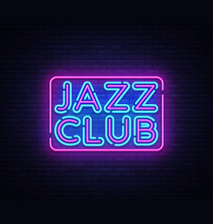 jazz club neon sign jazz music design vector image