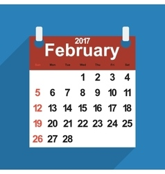 Leaf calendar 2017 with the month of February days vector image