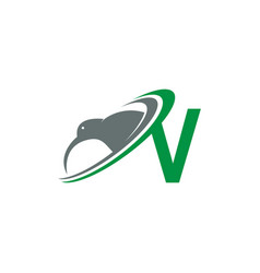 Letter v with kiwi bird logo icon design vector