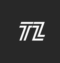 logo tz letters monogram simple artline design vector image