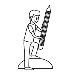 man with pencil avatar character vector image