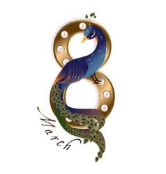 March 8 peacock vector