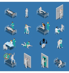 Mental Patients Isometric Set vector image