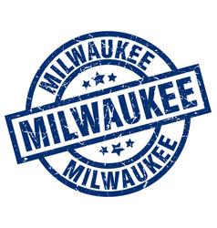 milwaukee blue round grunge stamp vector image