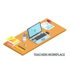Modern teachers workplace vector