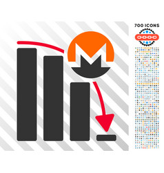 Monero falling acceleration chart flat icon with vector