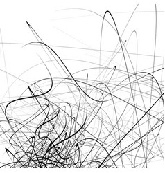 Monochrome random chaotic squiggle lines abstract vector