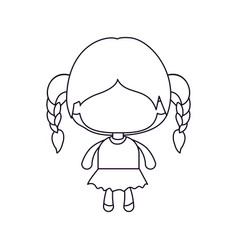 Monochrome silhouette of faceless little girl with vector