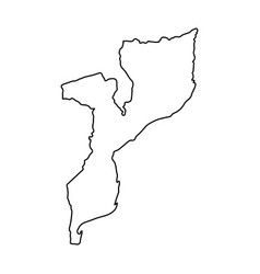 Mozambique map of black contour curves on white vector