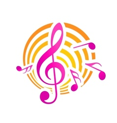 Music themed motif in yellow and pink vector image